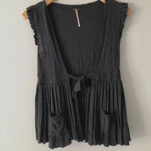 Free People black sweater vest peplum top
